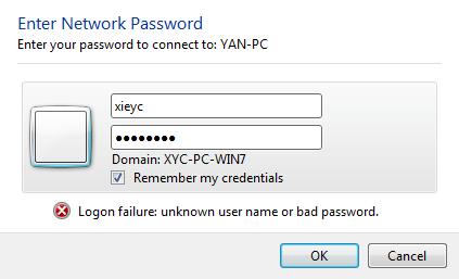 Windows XP / 7 中删除访问局域网共享时保存的用户名和密码